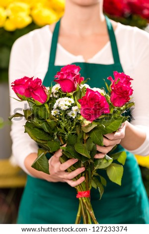 Female holding bouquet flowers pink roses flower shop
