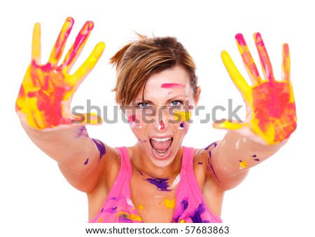 Female holding colored hands screaming