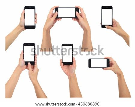 Female holding smart phone 6 various photos collection, use clipping path