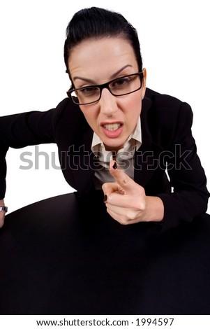 Female holding up finger arguing