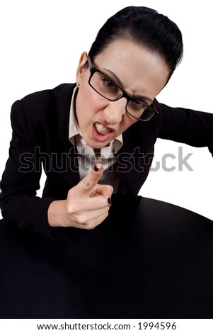 Female holding up finger yelling