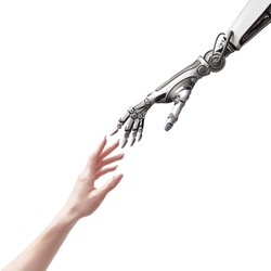 female human and robot's hands as a symbol of connection between people and artificial intelligence technology isolated on white for design