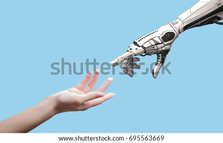 Shutterstock Female human hand and robot's as a symbol of connection between people and artificial intelligence technology isolated on blue for design.