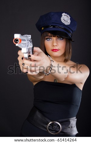 Female in police uniform shoot