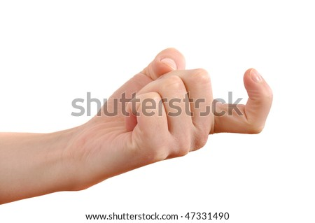 "Female index finger crooked reckoning ""come over here"" isolated on white background"