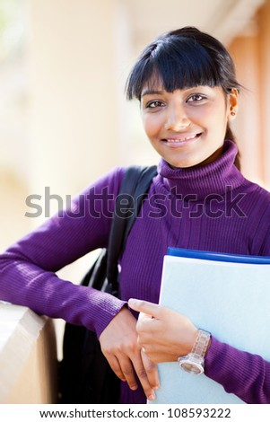 female indian high school student portrait