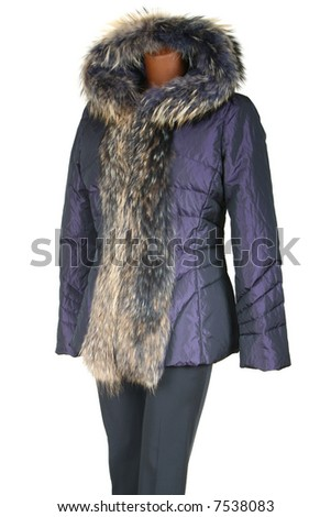 Female jacket trimmed by fur on a white background