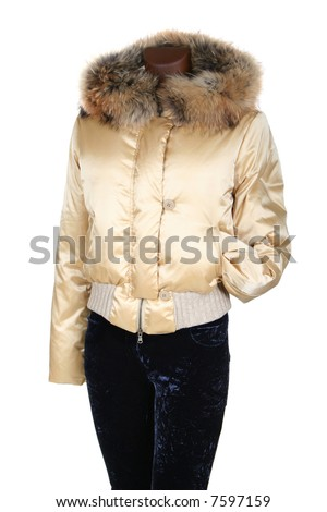 Female jacket with a hood on a white background