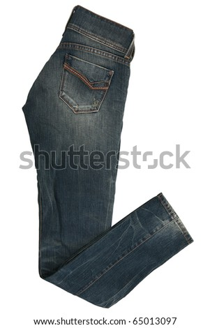 Female jeans trousers isolated on white