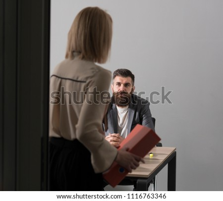 Female job applicant arrives at interview, gives resume to friendly hr recruiter, customer manager receives application from client, boss takes document for signing, first impression. #1116763346