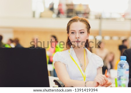 female judge referee of a sports event at the table. #1391419394
