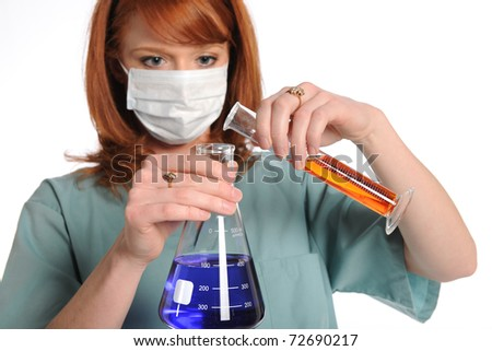 Female laboratory tech mixing chemicals isolated over white background