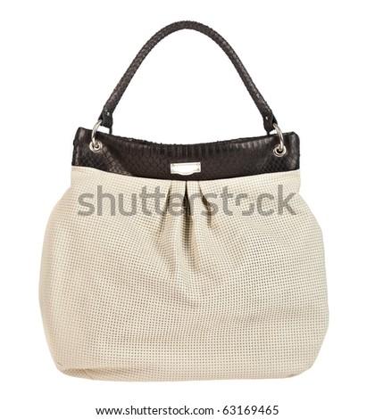 Female leather handbag on a white background - stock photo