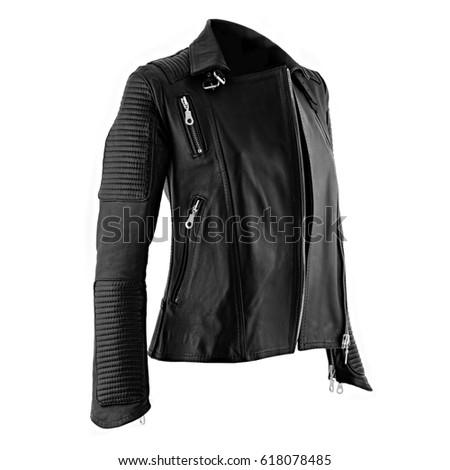 Female leather jacket on isolated white background #618078485