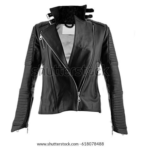 Female leather jacket on isolated white background #618078488
