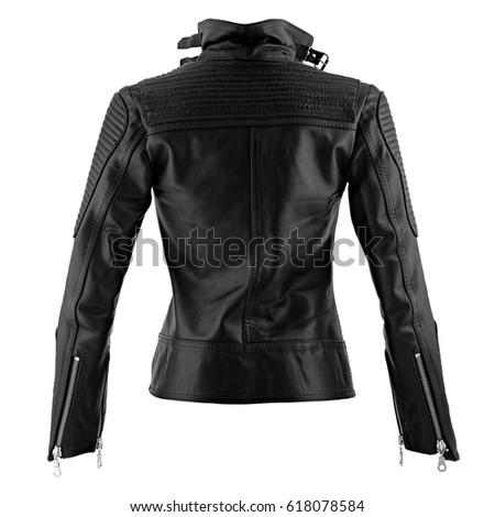 Female leather jacket on isolated white background #618078584