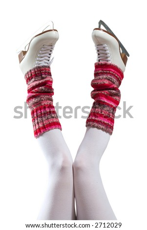 Female legs in gaiters and skates. White background