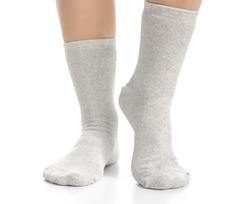 Female legs in gray socks on white background. Isolation
