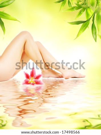 Female legs with pink lily reflected in water