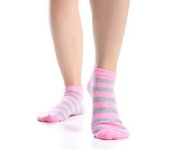 Female legs with pink socks fashion on background isolation