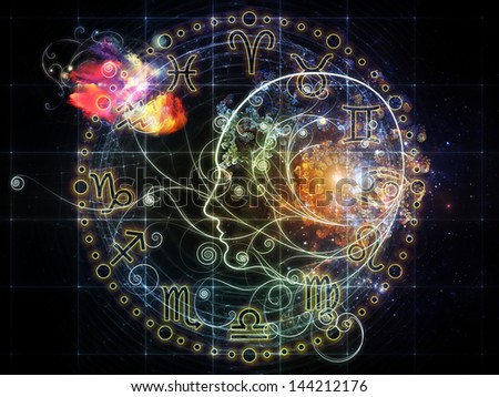 Female line profile and decorative elements on the subject of astrology, occult, spells, foretelling, magic and witchcraft
