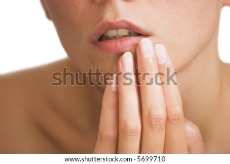 female lips, female fingers
