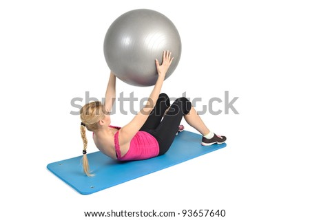 Female lying abs crunching exercise with fitness ball. position 2 of 2.