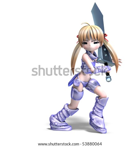 female manga paladin with huge sword. 3D rendering with clipping path and shadow over white
