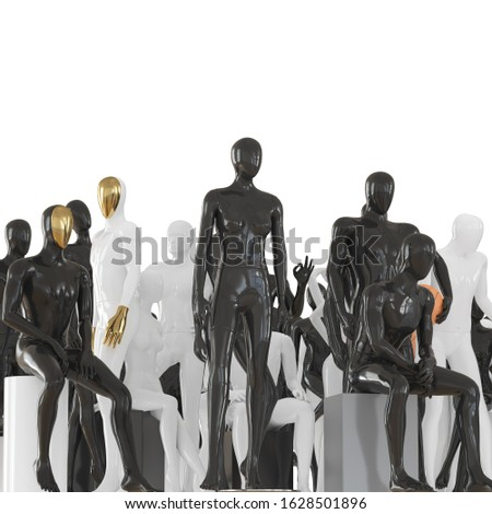 Female mannequin and two male mannequins against the background of a group of mannequins in different poses. Front view. 3D rendering