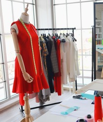 Female mannequin in a fashion shop, Working space of fashion designer, dressmaker or tailor. Dressmaking ,fashion design background.