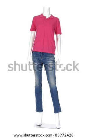 female mannequin red dressed in t- shirt and jeans