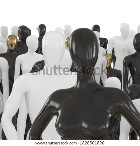Female mannequin waist-high against a background of a group of black and white mannequins. 3D rendering