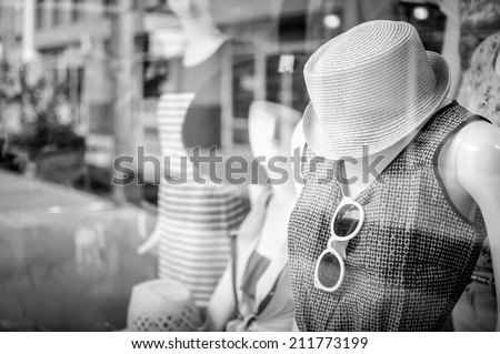 Female mannequins inside a fashion house Black & White image