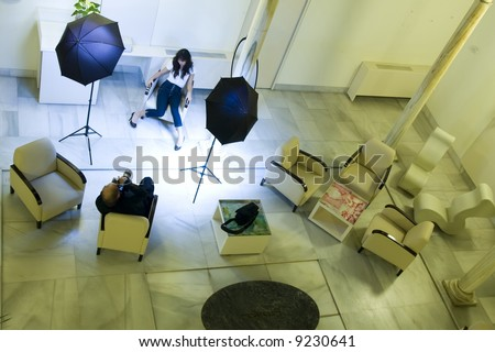 Female model and photographer in a photoshooting