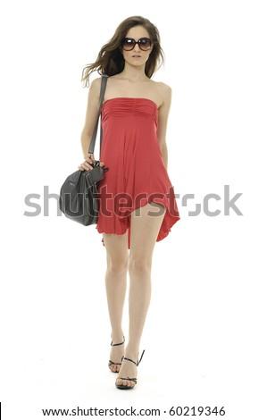 Female model at fashion show in studio