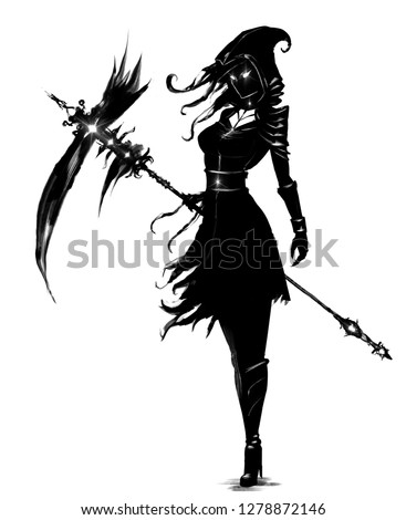 Stock Photo Female necromancer with a huge scythe