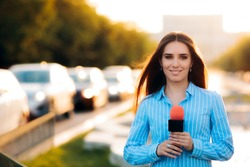 Female News Reporter on Field in Traffic - Woman journalist on the job as a live correspondent