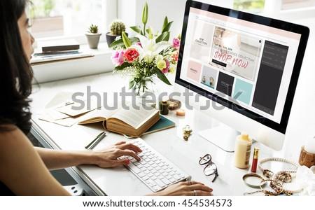 Female Online Shopping Home Decor Concept