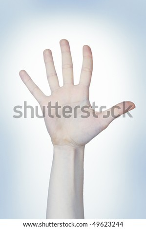 Female open palm on the blue background