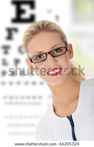 Female ophthalmologist, isolated on white - stock photo