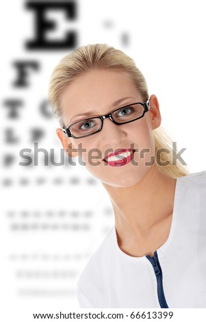 Female ophthalmologist, isolated on white
