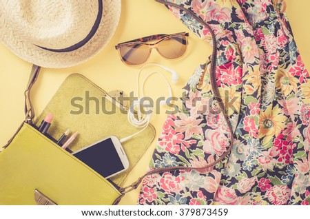 Female outfit on yellow background
