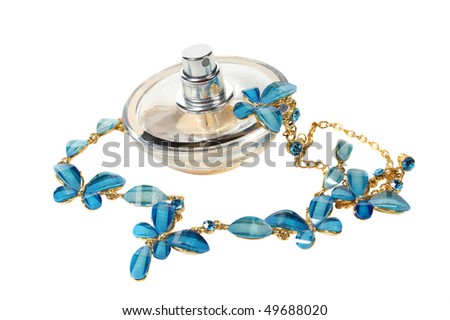 Female perfume and necklace
