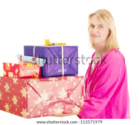 Female person with a lot of gifts