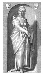 Female personification of Laziness. In a niche a woman is standing barefoot and with a bare bust. A snail is crawling on her shoulder.