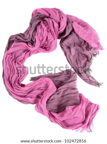 female pink scarf isolated on white background