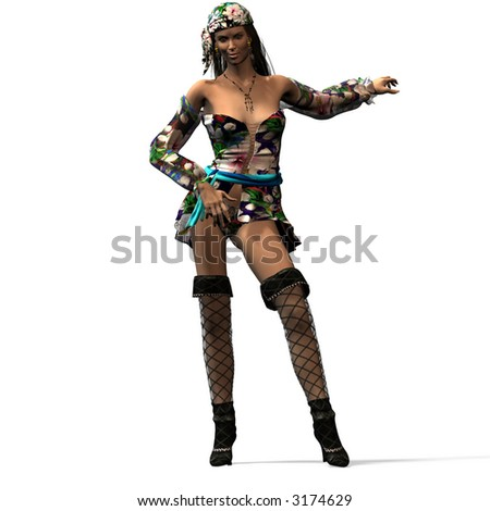 Female pirate, who holds on to the ship rail.