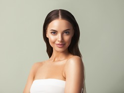 Female Portrait Happy smile woman natural cosmetic make up beauty