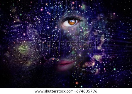 Stock Photo Female portrait in the Universe