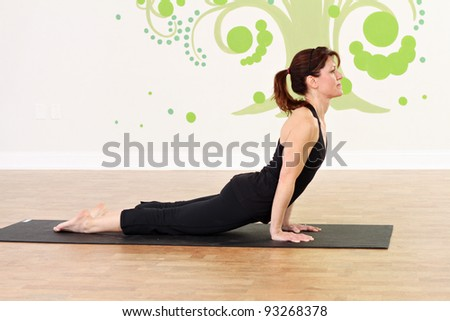 Female practicing yoga